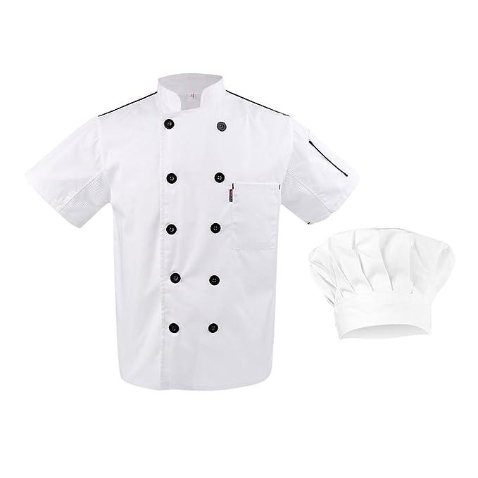 non-brand Sharplace Abrigo con Gorra Elástica Chef Secado Rápido Doble Botonadura Cocina Hotel Restaurante Ropa - Blanco, Única: Amazon.es: Ropa y ...