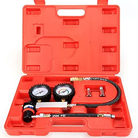 Zerone TU-21 Cylinder Leakage Leakdown Detector Leak Tester Kit Petrol Engine Compression Tester Gauges Set