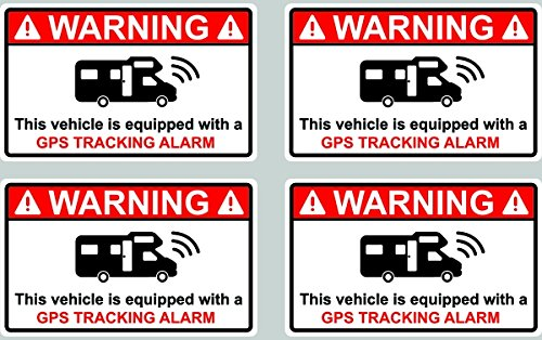 4 Stickers Alarme Camping Car GPS TRACKING ALARM