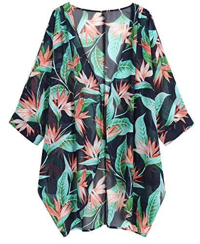 OLRAIN Women's Floral Print Sheer Loose Kimono Cardigan Capes (Large, Red Canna)