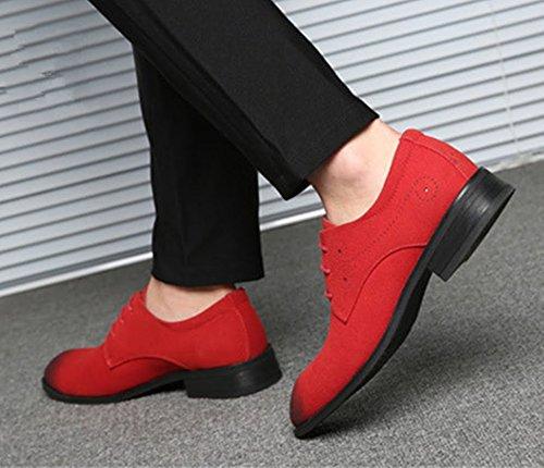 casuale particolarmente Pelle Dimensione Extra stile 48 Simple Inghilterra scarpe Uomini PU scamosciato Grande Uomo Bebete5858 Rosso Uqv158wxw