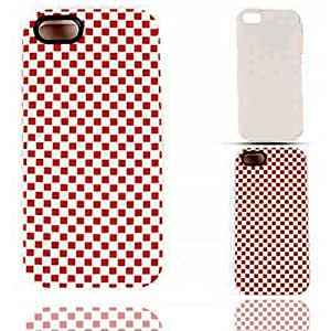 Cell Armor IPhone5-PC-JELLY-3D307 Hybrid Fit-On Jelly Case for iPhone 5 - Retail Packaging - 3D Embossed Red/White Checkers by runtopwell