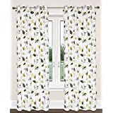 Preston Cotton Leaf Print Grommet Curtain Panels (Set of 2)  54x95-in, White/Green/Grey/Yellow