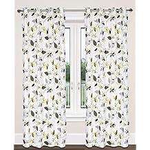 Preston Cotton Leaf Print Grommet Curtain Panels (Set of 2)  54x95-in, White/Green/Grey/Yellow