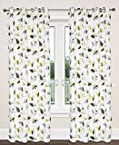 LJ Home Fashions Preston Cotton Leaf Print Grommet Curtain Panels (Set of 2) 54×95-in, White/Green/Grey/Yellow For Sale