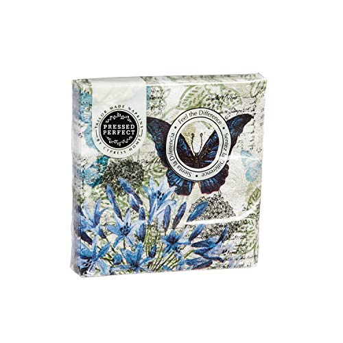 Blue Floral Study Embossed Cocktail Napkin Set of 20-5 x 5 ()