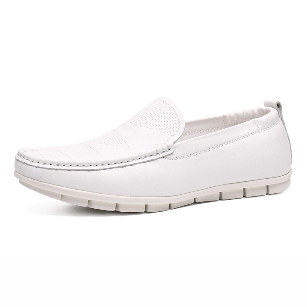 Zapatos Clásicos de Piel para Hombre Summer Peas Shoes Male Lounger British Style Zapatos Casuales Zapatos de Cuero para Hombres (Color : Blanco, Tamaño : EU42/UK7.5) EU42/UK7.5 Blanco