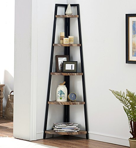 O&K FURNITURE 5 Shelf Industrial Corner Bookcase and Shelf, A-Shaped Display...