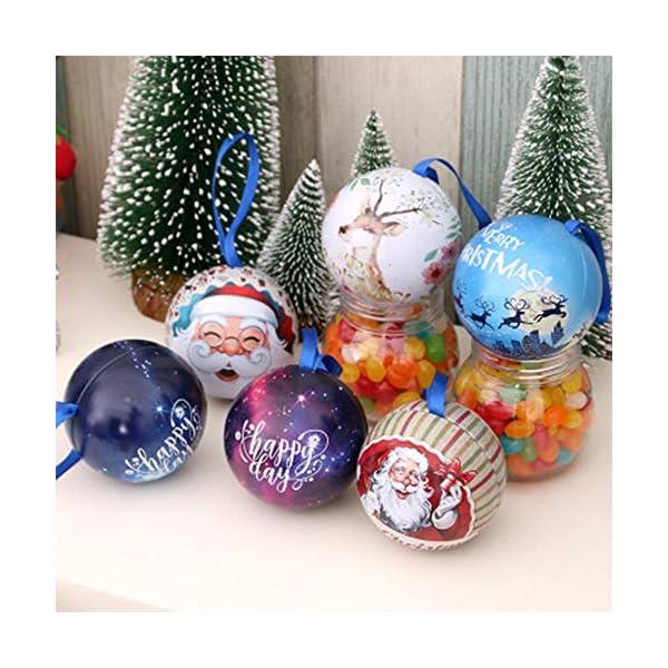 Amasawa 6 Pezzi Palle di Natale, Decorazioni per Alberi di Natale, Decorazioni Natalizie,Candy Can, 2,7 Pollici / 7 cm Tema dell'albero di Natale 7 spesavip