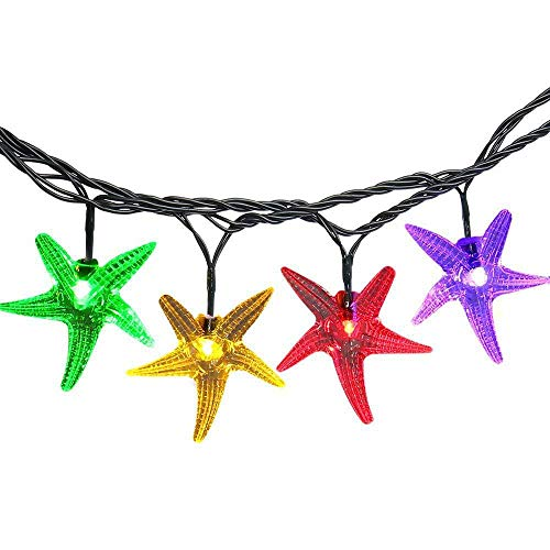 XIYU 4.8M 16ft Colorful 30 LED Starfish Solar String Lights Long Work 8 h Christmas Tree Ambiance Lights Patio Garden Lights for Fairy Wedding Party and Holiday Decor]()