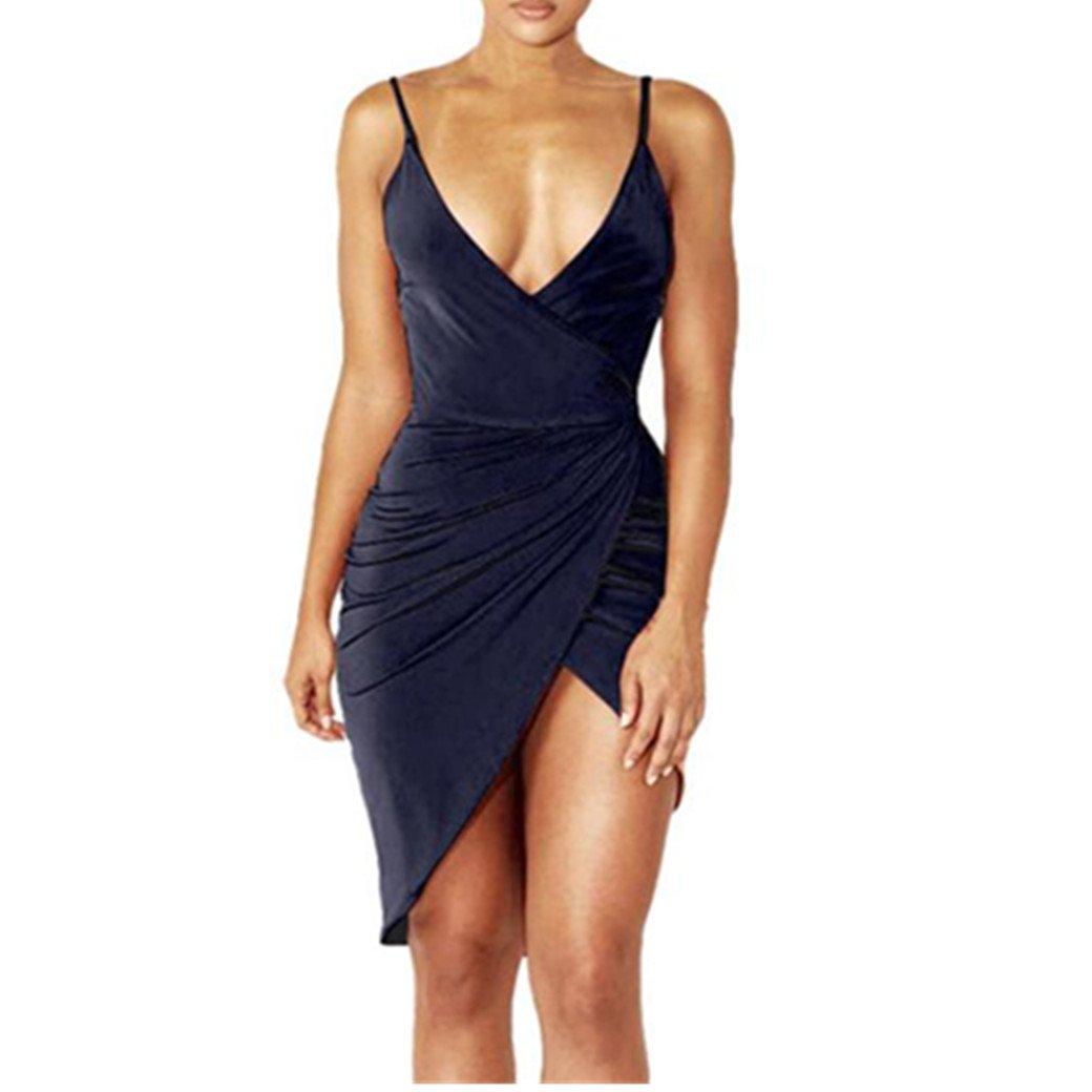 Damen Sexy Deep V-Ausschnitt Ärmelloses Spaghetti-Strap Bodycon Wickelkleid mit Rüschen Frauen Moderne Kleider Vorne Schlitzbandage Bleistift Club Cocktailkleid Partei Minikleid Longra
