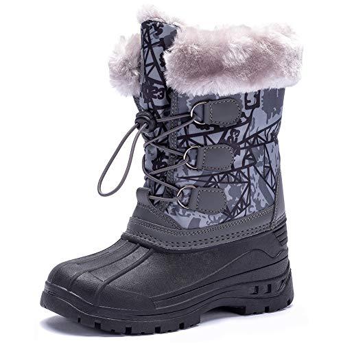 Toddler//Little Kid//Big Kid Girls Boys Snow Boots Kids Winter Warm Waterproof Outdoor Slip Resistant Cold Weather Fur Lined Shoes Pink Purple Blue Black