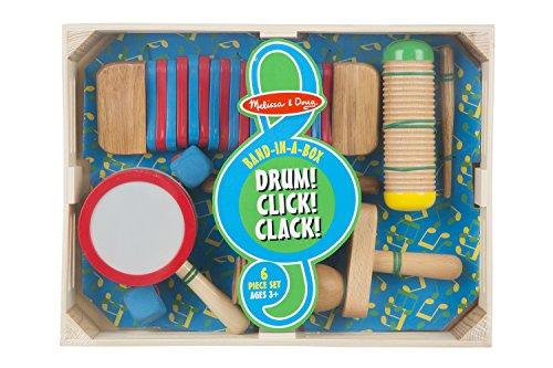 Melissa & Doug Band-in-a-Box Drum! Click! Clack! - 6-Piece Musical Instrument Set