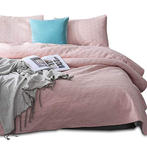 Kasentex Quilted Coverlet Set - Pre-Washed - Luxury Microfiber Soft Warm Bedding - Solid Colors Bedspread - Contemporary Design 2 King Shams, Blush Pink/Star