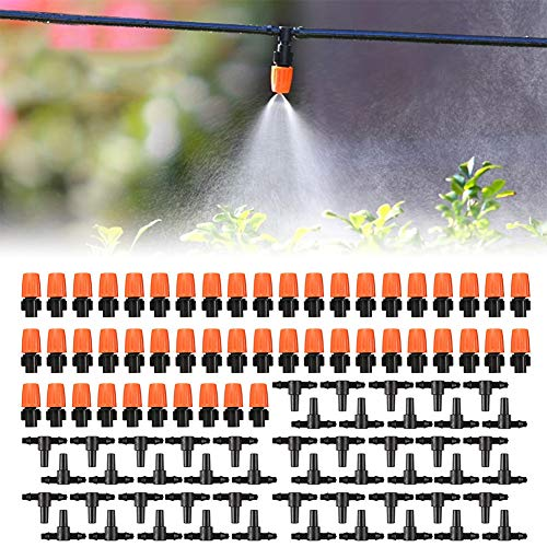 SubClap 100pcs(50pairs) Drip Irrigation Kits Adjustable Misting Drippers Tubing Connecter Irrigation Sprinklers Head Watering System for Garden,Lawn, Farm, Vegetable Garden