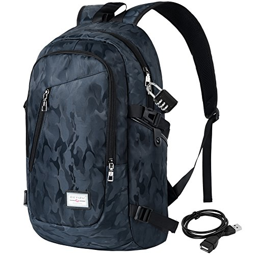 Vbiger Oxford College Student Backpack Large Capacity Laptop Backpack Lightweight School Backpack Children Bookbag Casual Daypack with Security Coded Lock and USB Charging Port (Camouflage Blue)
