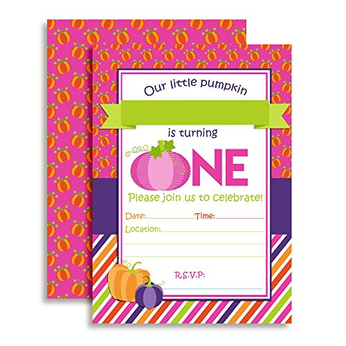 Pumpkin Girl 1st Birthday Party Invitations, Ten 5