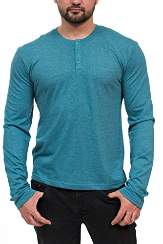 MTL-65601 Heather LS Henley -TEAL/XL