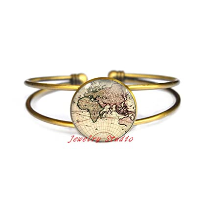 Amazon Com World Map Bracelet Post Earth Bangle Simple Bracelet
