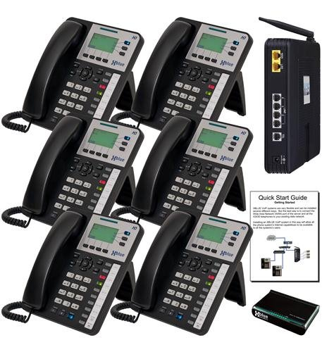 XBLUE X25 System with (6) X3030 Phones, Standard Analog Telephone Line Compatibility, Auto Attendant, Voicemail for Every User, Call Forward to Cell Phones, Intercom, Paging & Remote Phones