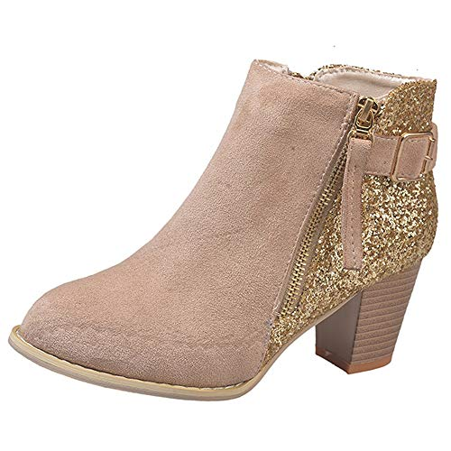 FORUU Fashion Round Toe High Thick Ankle Boots Side Zipper Mixed Colors Women Boots Khaki