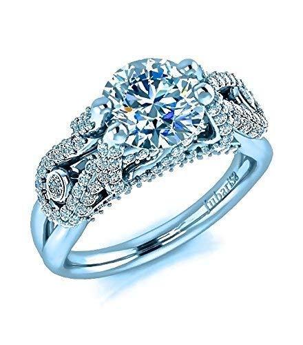1.77 Tcw. Micro-Pave Round GIA Diamond Engagement Ring Custom Bezel Infinity Shank Jubariss 14K White Gold Handmade Fine Jewelry