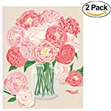 2 PACK // PAPER SOURCE // DELUXE BOXED STATIONERY // Peonies A2 S/10 Cards // Beautifully Finished - Great Theme/Design - Perfect For A Friendly Note Or Thank You