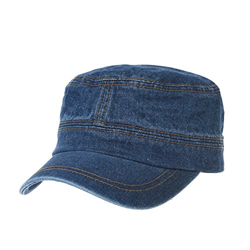 - WITHMOONS Army Denim Cadet Cap Cotton Jean Stitch Washed Hat KR4969 (Blue)