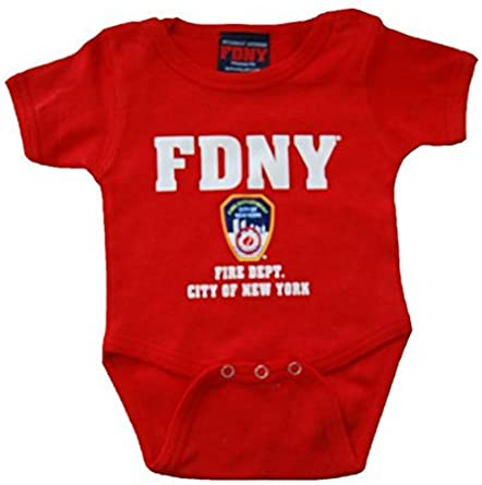 FDNY White with RED Logo Onesie