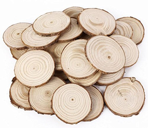 Yingealy Great Fun Gift 25Pcs 5cm Wooden Wood Log Slices Discs Tree Bark Decorative for DIY Crafts Wedding Centerpieces by Yingealy (Image #4)