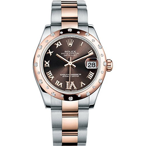 Rolex Datejust 31 mm, Acero y Oro Rosa Reloj con 24 diamantes bisel Chocolate Diamond
