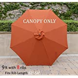 Replacement Umbrella Canopy for 9ft 8 Ribs Terra Cotta (Canopy Only)