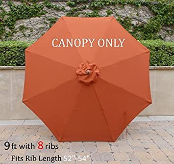 Replacement Umbrella Canopy for 9ft 8 Ribs Terra Cotta (Canopy Only) : replacement umbrella canopies - memphite.com