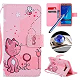 Samsung Galaxy J5 2016 Flip Case,Samsung Galaxy J5 2016 Wallet Case,Etsue Strap Leather Case for Samsung Galaxy J5 2016,Cute Pink Cat Pattern Soft Inner Magnetic Closure Bookstyle Leather Wallet Case Cover with Card Slots for Samsung Galaxy J5 2016+Blue Stylus Pen+Bling Glitter Diamond Dust Plug(Colors Random)-Pink Cat