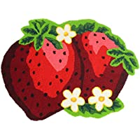KEPSWET Morden Acrylic Red Strawberry Bath Rug Mat Fruit Shape Indoor Home Decor Area Rug Kitchen Dining Living Room (26x20, Red)