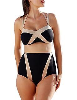 58072bedbdc1c Lalagen Women s Slimming Halter High Waist Plus Size Two Piece Bikini Set