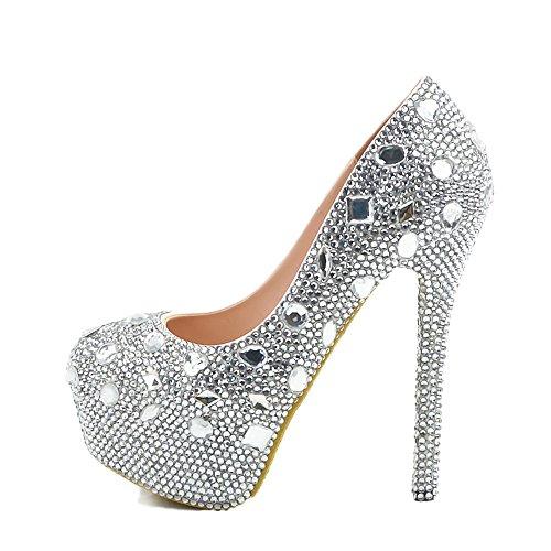 Kleid Schuhe Fancy Prom Damen Cinderella Glitter Heels Lacitena Pumps Schuhe Silber Sparkly twOqgE