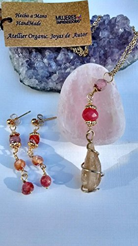 Short Necklace, unique, handmade, semiprecious stones, Spiral-mounted citrine quartz point of 22 k, faceted agates ( 2.16 in), Gold Plated Chain 22k ( 17.31 in ). Includes gold veneer earrings Semi Mounted Set Ring