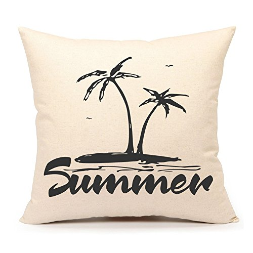 4TH Emotion Summer Beach Throw Pillow Case Cushion Cover for Sofa Couch 18 x 18 Inch Cotton Linen(Palm Trees)
