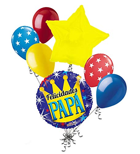 - 7 pc Felicidades Papa Corona Happy Father's Day Balloon Bouquet Party Decoration