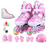DSFGHE Roller Skates Inline Skates Boys Girls Adjustable Size Roller Childrens Adults Kids Rollerblades Set For Beginners Toddlers Flash Professional Ice Skate Set,Pink-L【38-41】