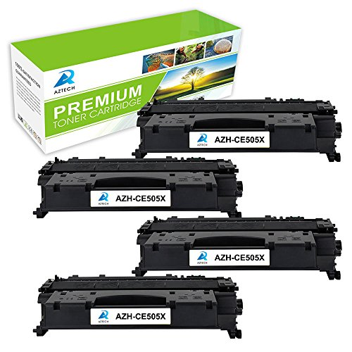 AZTECH 4 Pack 6,500 Pages High Yield Black Compatible Toner Cartridge Replaces 05X CE505X CE505 For LaserJet P2055 P2055D P2055DN P2055X