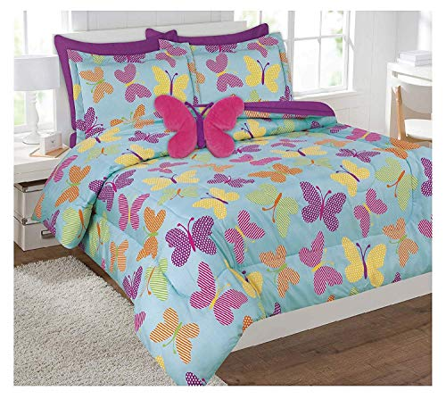 Butterfly Bed In A Bag - Twin Size 6 Pieces Reversible Printed Butterfly Microfiber Kids Bed In Bag Bedding Comforter with sheets and pillow cases