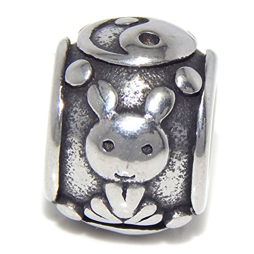 Stainless Steel Chinese Rabbit Zodiac Sign Spacer Charm Bead for European Snake Chain Bracelets