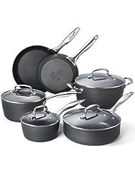 Cooksmark Kingbox 10-Piece Hard-Anodized Dishwasher Safe Nonstick Black Aluminum Cookware Set, Oven Safe