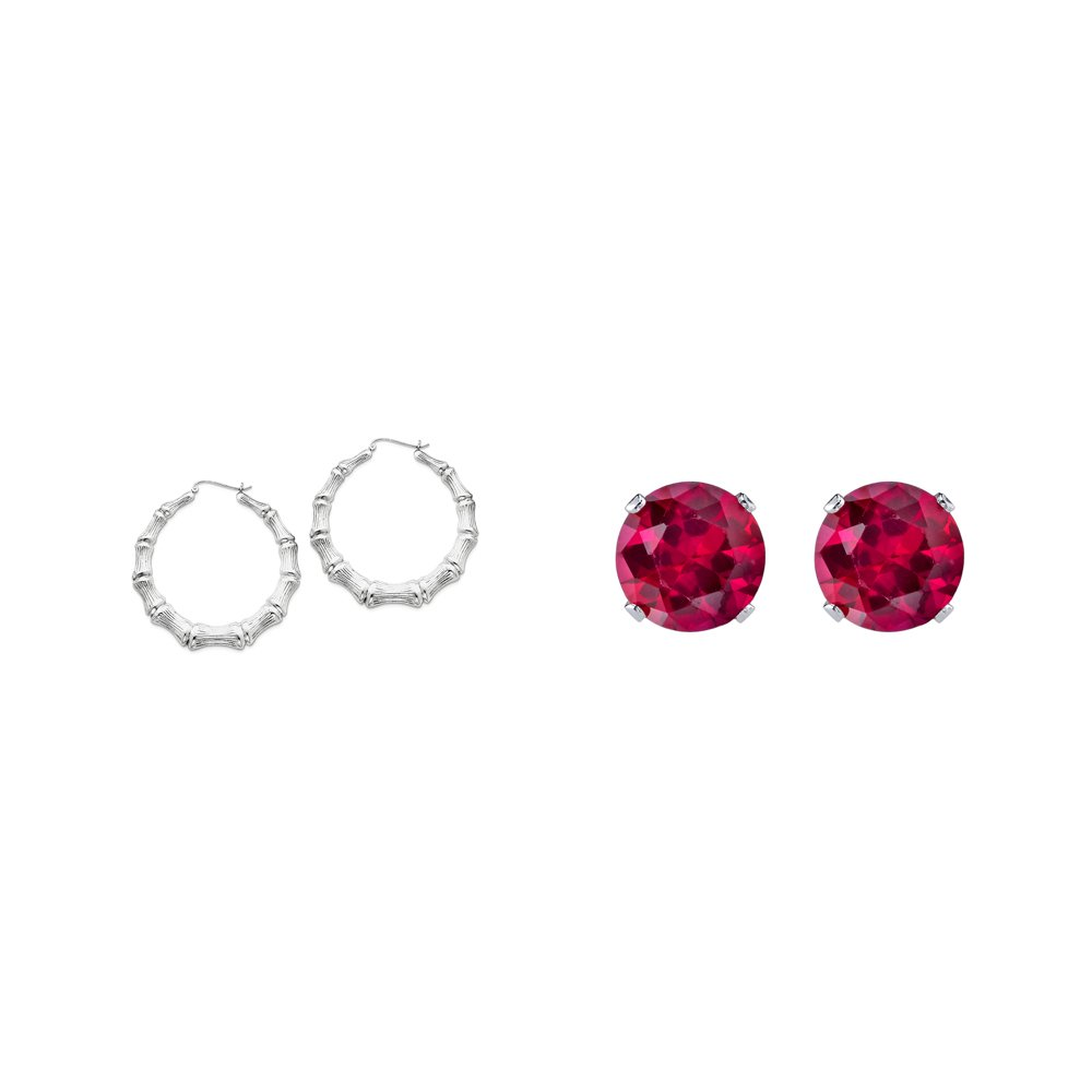 Sterling Silver Bamboo Hoop Earrings and a pair of Red 4mm CZ Stud Earrings