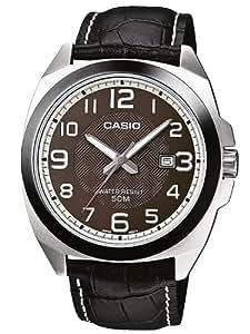 CASIO MTP-1340L-5AVEF - Reloj analógico de cuarzo con correa de cuero para hombre, color negro