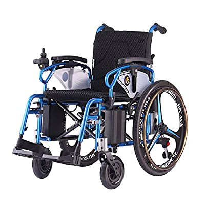 Lightweight Dual Function Foldable Power Wheelchair (Polymer Li-ion Battery) with Magnesium Alloy Rim. Drive with Power or use as Manual Wheelchair. (Electric Motorised Wheelchair)