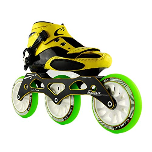 のみ縞模様の心からNUBAOgy インラインスケート、90-110ミリメートル直径の高弾性PUホイール、3色で利用可能な子供のための調整可能なインラインスケート (色 : Green, サイズ さいず : 37)