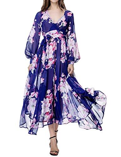 Dresses Navy Swing Deep Women's Neck V Dress Beach Chiffon Maxi Floral Blue Dramaticbuying PEgqAwE